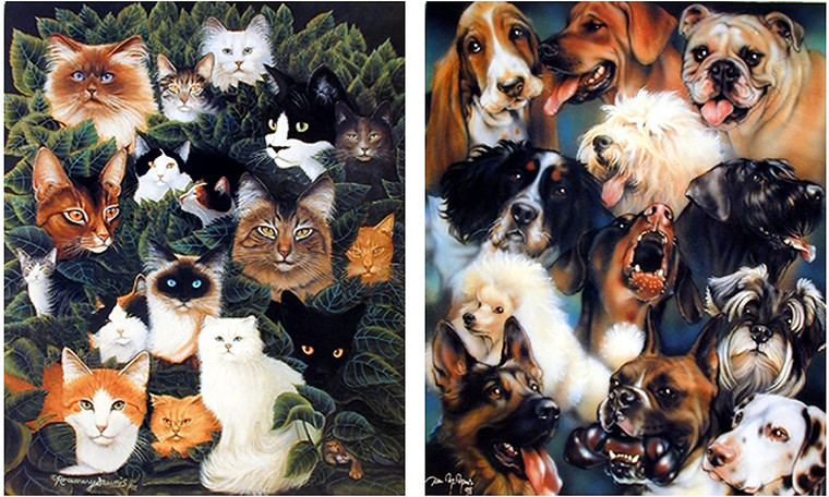 Wall Decor - Cute Cats and Dogs Breed Animal Collage Picture 16x20 Two Set Kids Room Art Print Poster