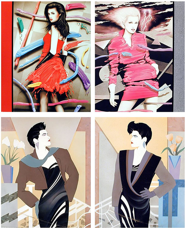 Vogue Exotic Red Dress Picture Wall Decor Art Print Fashion Lady With Tulip Flowers Four Set 16x20 Poster