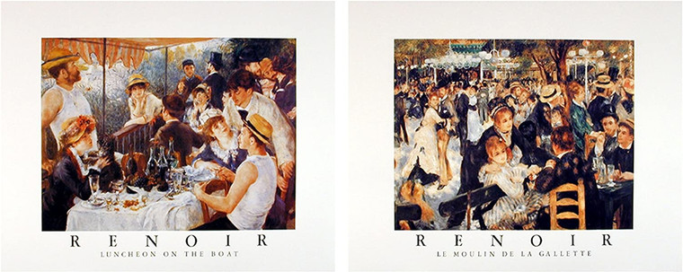 Wall Decoration Art Print - Renoir Boat Party Impressionist Picture 16x20 Two Set Painting Poster