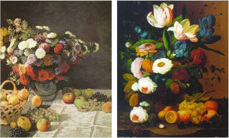 Wall Decor - Bouquet of Colorful Flowers with Fruits Still Life Kitchen Picture 16x20 Two Set Art Print Poster