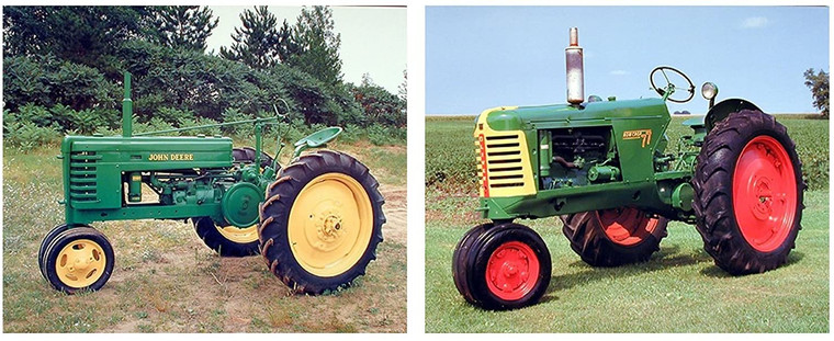 Wall Decor Art Print Picture Vintage John Deere And Oliver Crop Tractor Two Set Poster (16x20)