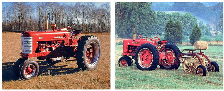 Farm Red Tractor Wall Decor Vintage Farmall Picture Two Set 16x20 Art Print Poster