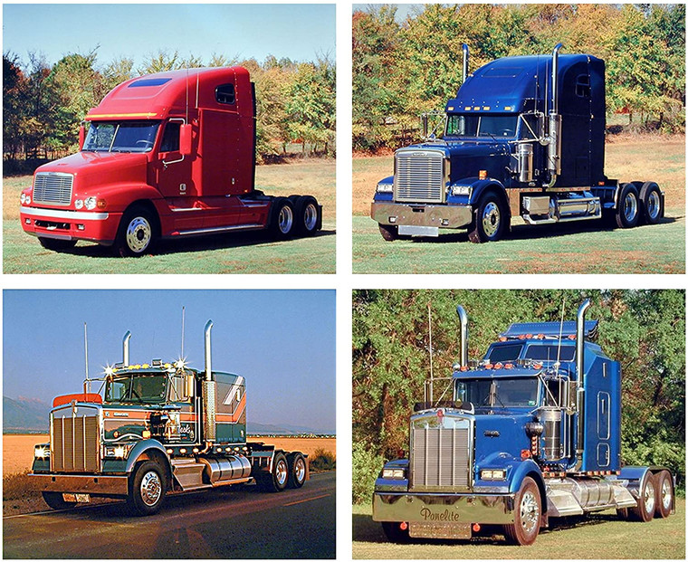 Vintage Truck Wall Decor Kenworth Big Rig Picture Four Set 16x20 Art Print Poster