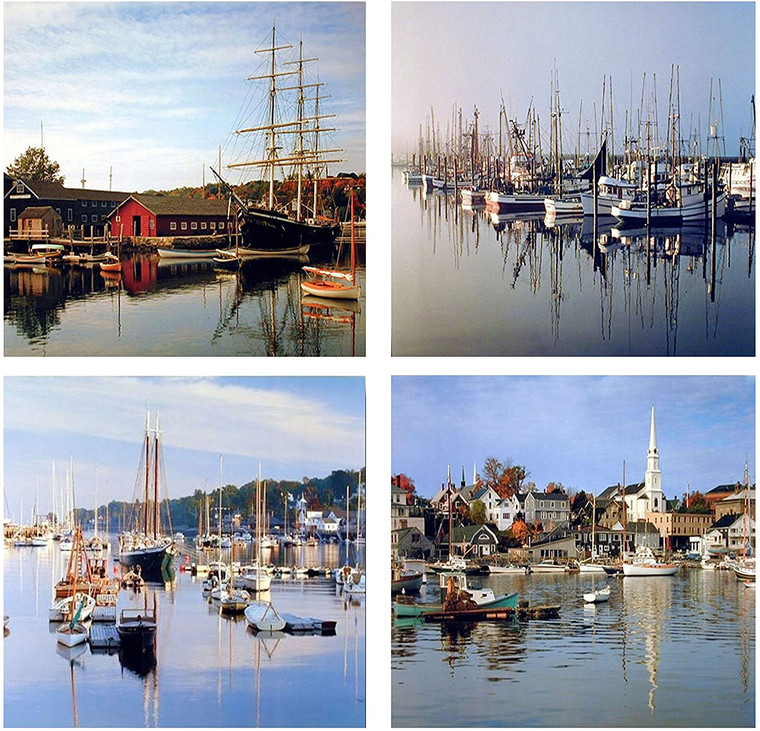 Nautical Sailboats Harbor Scenery Landscape Nature 16x20 Four Set Wall Decor Art Print Posters