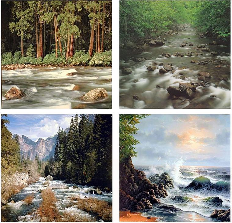 Wall Decoration Art Print - Ocean Crashing Wave Forest River Landscape 16x20 Four Set Scenery Nature Poster