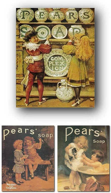 Wall Decor Art Print Picture Vintage Forgotten My Pears Soap Ad 8x10 Four Set Poster