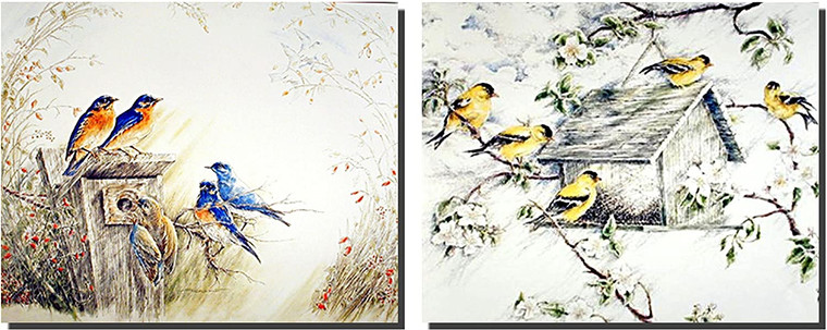 Birds Wall Decor Picture Wild Bluebird House Two Set Art Print Poster (8x10)