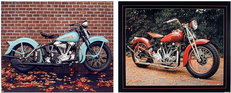 Wall Decor Art Print Harley Davidson Vintage Crocker Buck Motorcycle Two Set 8x10 Poster