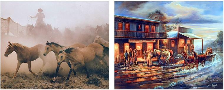 Western Cowboy Running Horse Wild Animal 8x10 Two Set Wall Decor Art Print Poster