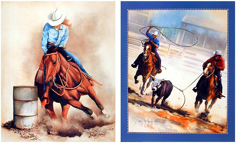 Western Cowgirl And Cowboy Vintage Rodeo Horse 8x10 Two Set Wall Decor Art Print Poster