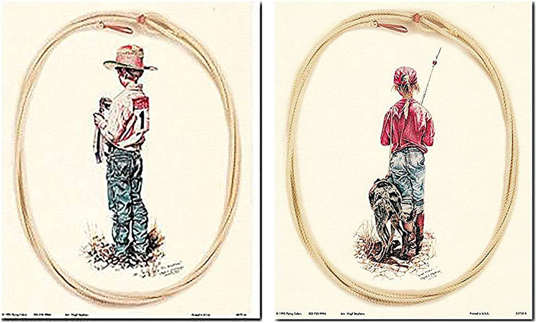 Wall Decor Art Print The Champion Western Rodeo Cowboy Girl Gone for Fishing with Dog 8x10 Two Set Poster Picture