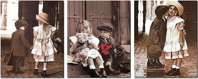 Wall Decor Art Print The Journey by Jeff Kaine First Love Sunday Best Cute Kids Couple with Taddy Retro Three Set 8x10 Poster Picture