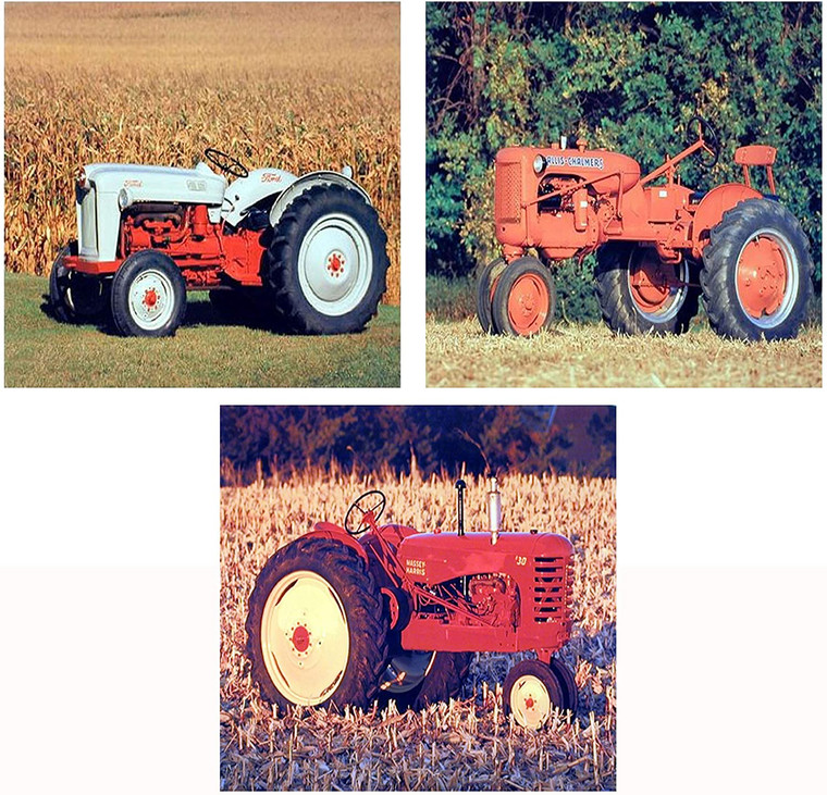 1953 Ford NAA Golden Jubilee, Allis Chalmers Vintage Farm Tractor Farming 8x10 Three Set Wall Decor Picture Art Print Posters