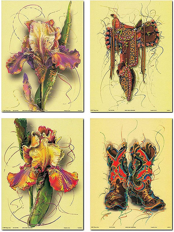 Wall Decor Picture - Colorful Tulip Flower Floral And Western Cowboy Old West Boots & Saddle Contemporary 8x10 Four Set Art Print Poster