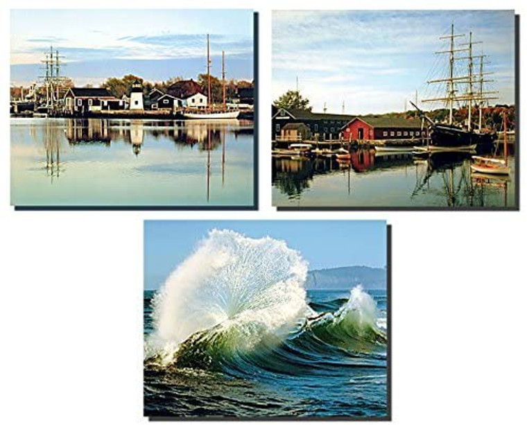 Ocean Crashing Waves, Peaceful And Mystic Sailboat Landscape Three Set 8x10 Picture Scenery Nature Wall Decor Art Print Posters