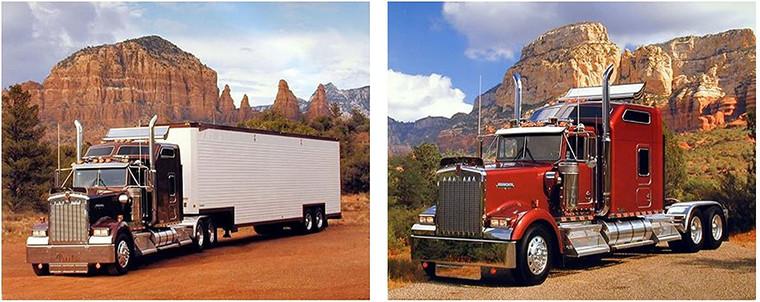 Peterbilt Kenworth Big Rig Diesel Semi Truck Automobile Two Set Picture 8x10 Wall Decor Art Print Posters