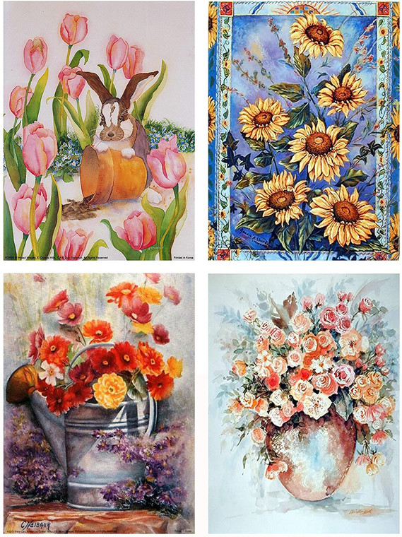 Sunflowers, Tulips And Wildflower Four 8x10 Set Picture Wall Decor Art Print Posters