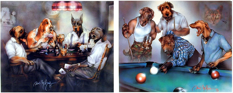 Wall Decor Picture Dogs Playing Pool Dan And Dogs Playing Poker Cards Two Set Funny Animal Art Print Poster (8x10)