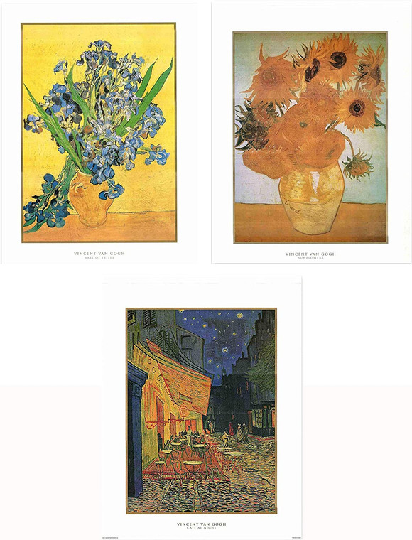Wall Decor Vincent Van Gogh Sunflower Cafe Terrace Picture at Night Three Set 22x28 Vase of Irises Art Print Poster
