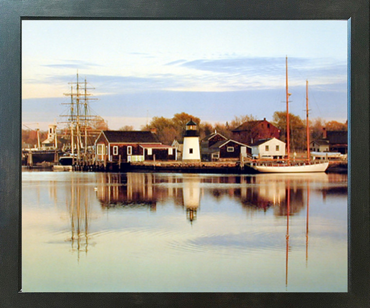 Impact Posters Gallery Peaceful Harbor Boats Scenery Nature Espresso Wall Framed Picture Art Print (18x22)