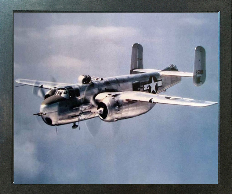 Aviation Aircraft Military Poster - B-25 Mitchell. Lt. Bomber Airplane Jet Vintage Espresso Wall Decor Framed Picture Art Print (18x22)