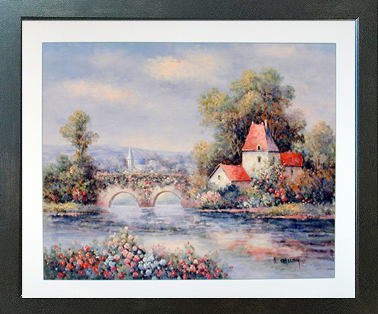 Framed Wall Decoration Country Cabin Floral Cottage Bridge Nature Espresso Framed Art Print Picture (18x22)