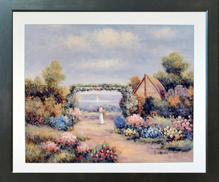 Country Cottage (Flower Garden) Nature Scenery Wall Decor Picture Expresso Framed Art Print Poster (18x22)