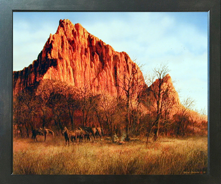 Western Cowboy Horses Mountain Scenery Wall Decor Picture Expresso Framed Art Print Poster (18x22)