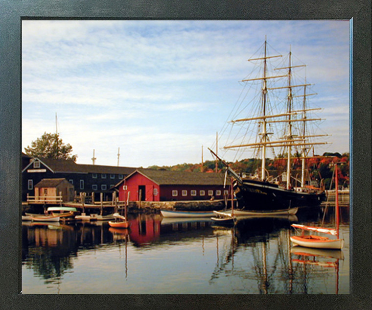 Mystic Seaport and Sailboat Landscape Nature Scenery Wall Decor Picture Expresso Framed Art Print Poster (18x22)