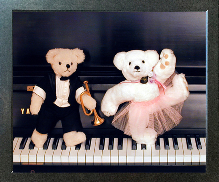 Cute Teddy Bear Couple on Piano Ron Kimball Wall Decor Picture Expresso Framed Art Print Poster (18x22)