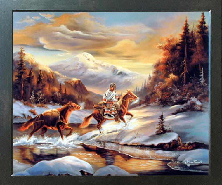 Western Wall Decor Cowboy Crossing The Stream Gina Femrite Bedroom Expresso Framed Art Print Poster (18x22)