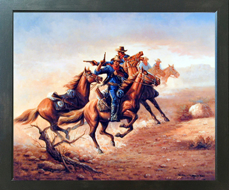 Western Civil War Blue Soldiers Shoot Out Country Wall Decor Picture Expresso Framed Art Print Poster (18x22)