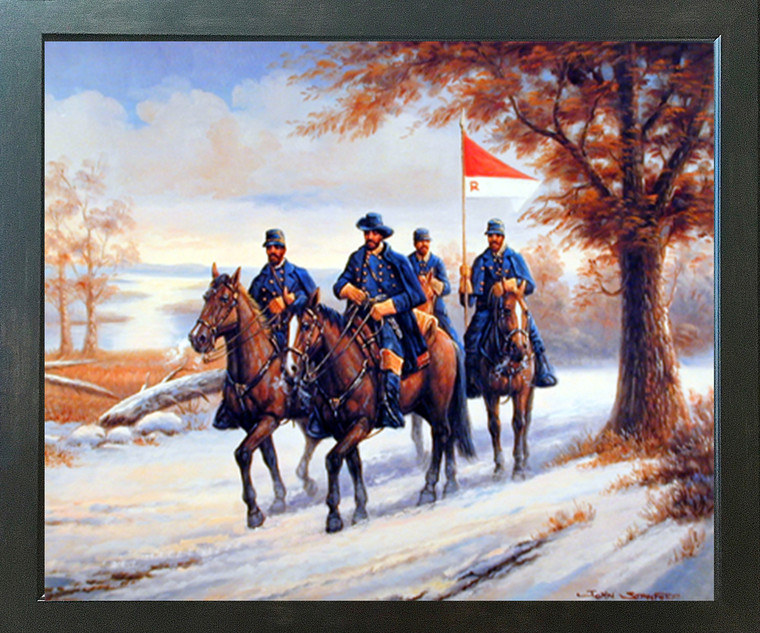Western Civil War Blue Soldier on Horses Country Wall Decor Picture Expresso Framed Art Print Poster (18x22)