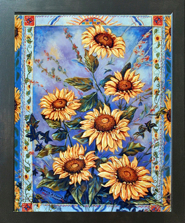 Impact Posters Gallery Country Sunflower Floral Flower Espresso Art Print Framed Wall Decor Picture