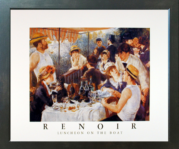 Framed Wall Decor Renoir Luncheon on the Boat Party Impressionist Espresso Art Print Picture (18x22)
