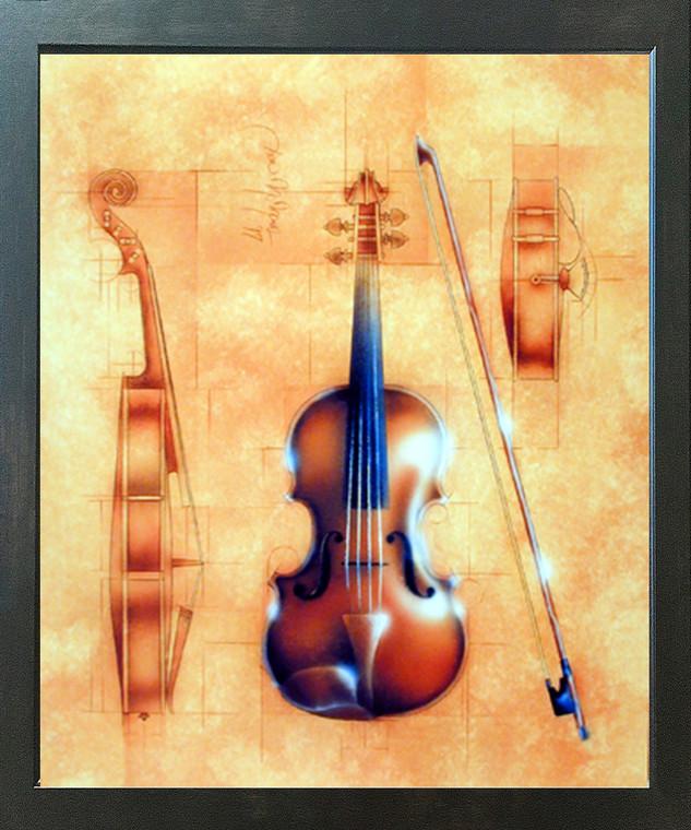 Impact Posters Gallery Fine Arts Instrument (Violin) Espresso Picture Art Print Framed Wall Decor