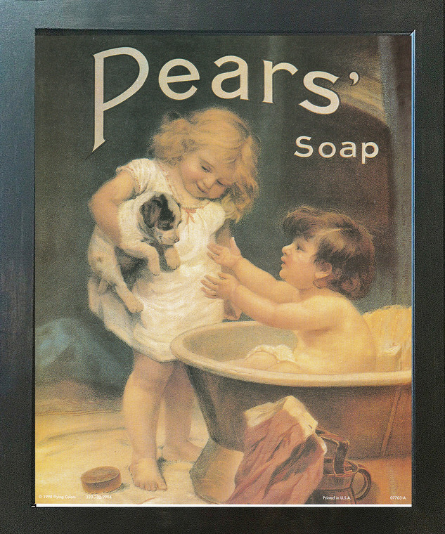 Pears Soap Ad Wall Decor Vintage Advertisement Picture Bathroom Expresso Framed Art Print Poster (18x22)