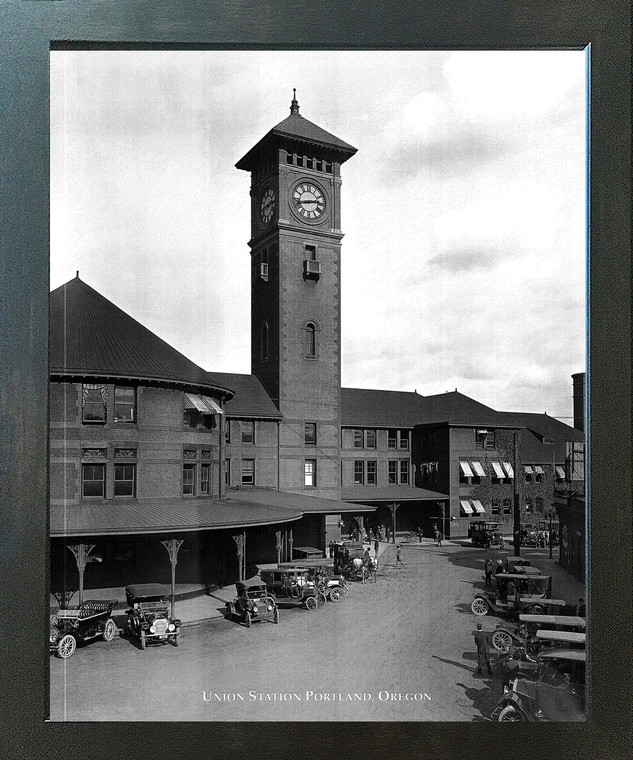 Impact Posters Gallery Vintage Ford Model T Car Union Station Portland, Oregon Espresso Framed Wall Decor Art Print Picture