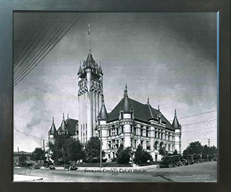 Framed Wall Decoration Vintage Spokane Country Court house Espresso Framed Art Print Picture (18x22)