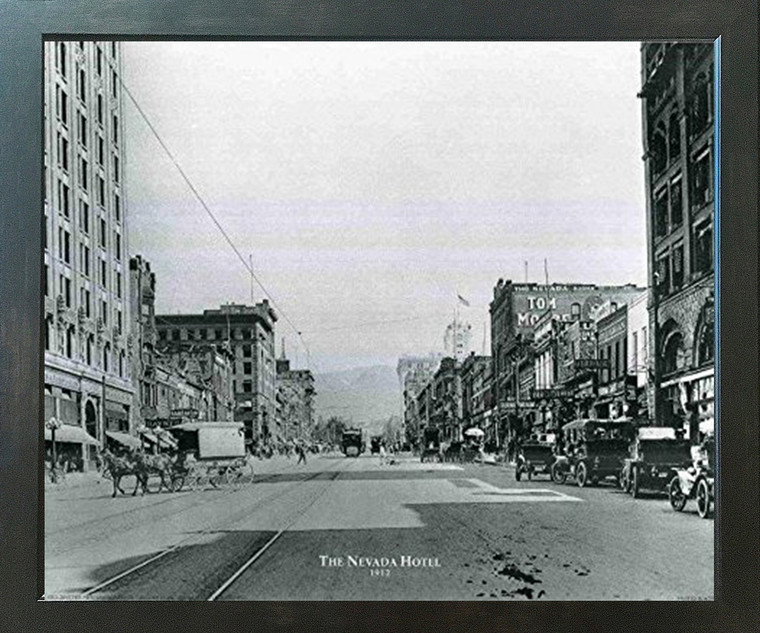 Impact Posters Gallery The Nevada Hotel Vintage Country Espresso Framed Art Print Framed Wall Decoration Picture (18x22)