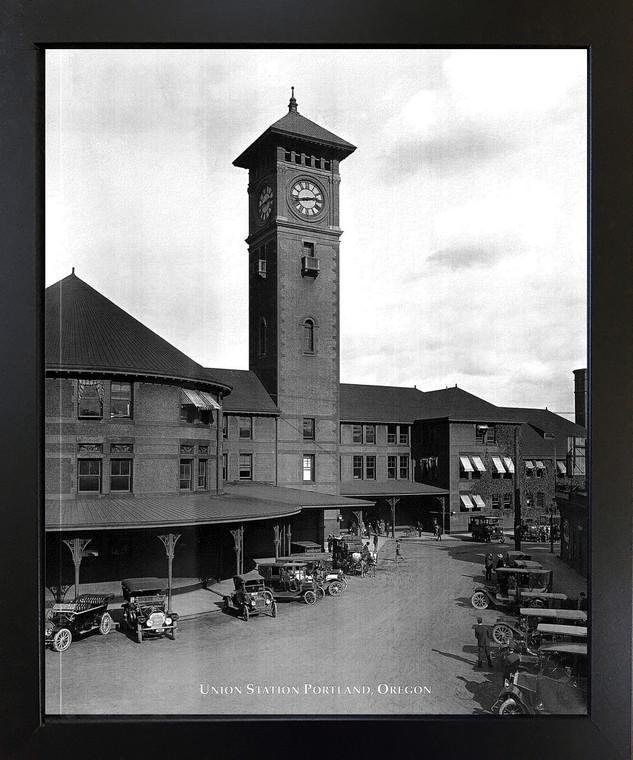 Vintage Ford Model T Car Union Station Portland, Oregon Black Framed Wall Decor Art Print Picture (18x22)