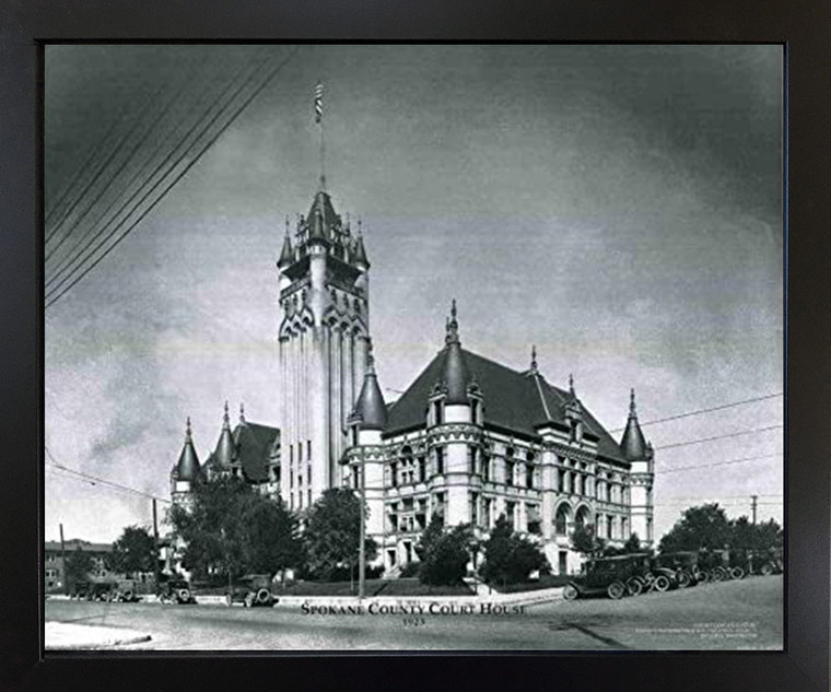 Vintage Spokane Country Court House Black Framed Wall Decor Art Print Picture (18x22)
