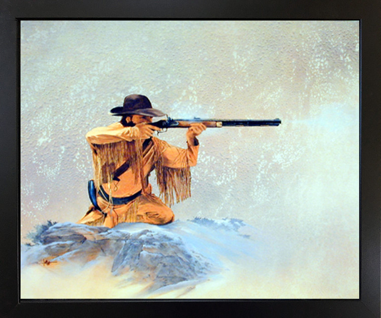 Framed Wall Picture Decor Jan Nell Long Hunter Rifle Mountain Man Black Art Print (18x22)