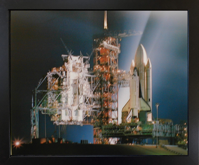 Framed Wall Decoration NASA Space Shuttle Night Launch Inspirational Black Picture Art Print (18x22)