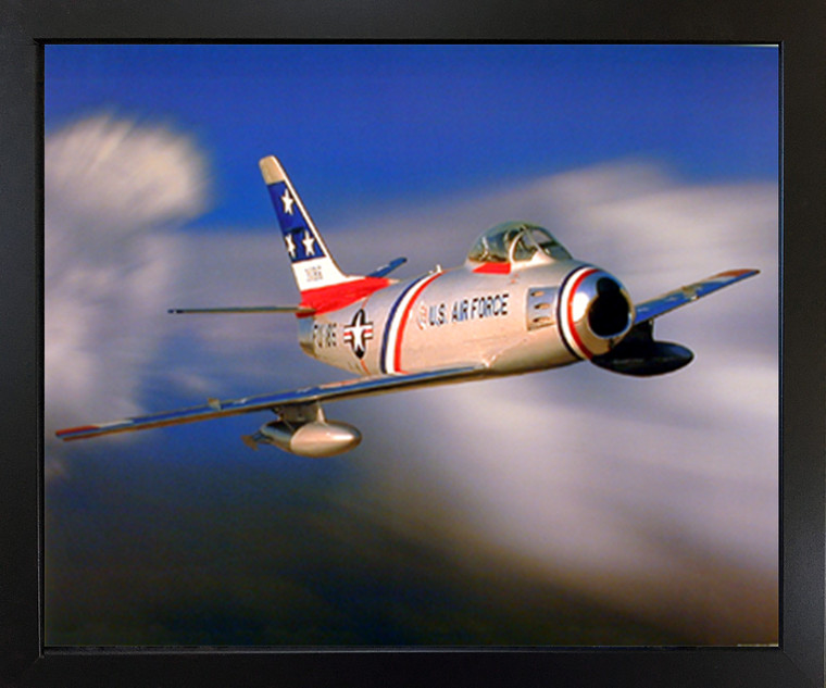 Impact Posters Gallery F-86 Sabre Jet Military Aircraft Aviation Black Framed Wall Decor Picture Art Print (18x22)