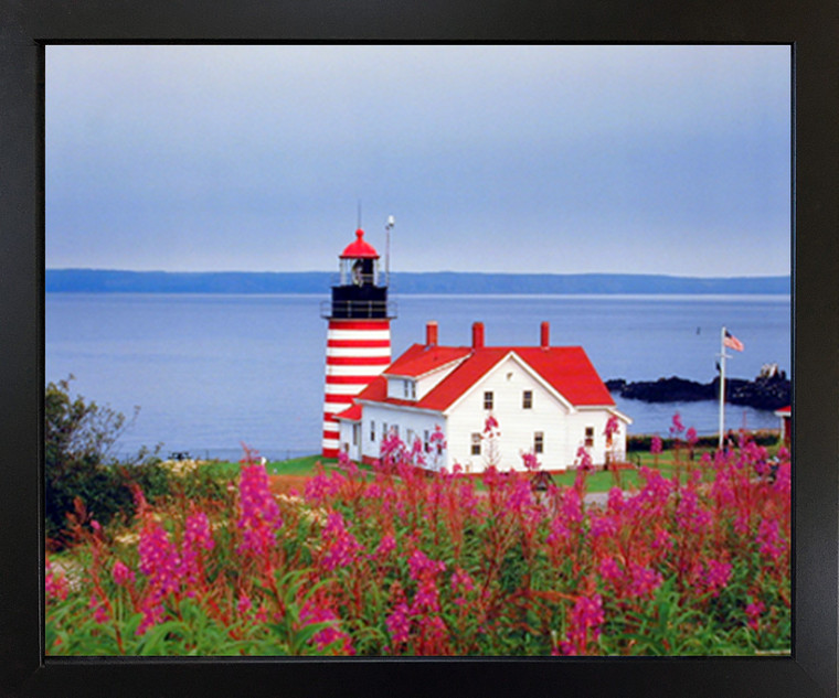 Framed Wall Decor West Quoddy Head Lighthouse Seascape Black Picture Art Print (18x22)
