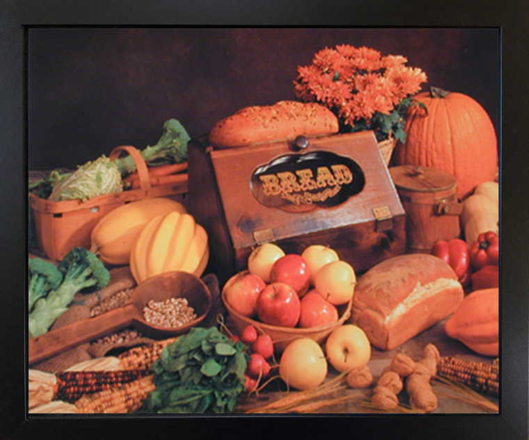 Framed Wall Decor Food and Bread Still Life Kitchen Black Picture Art Print (18x22)