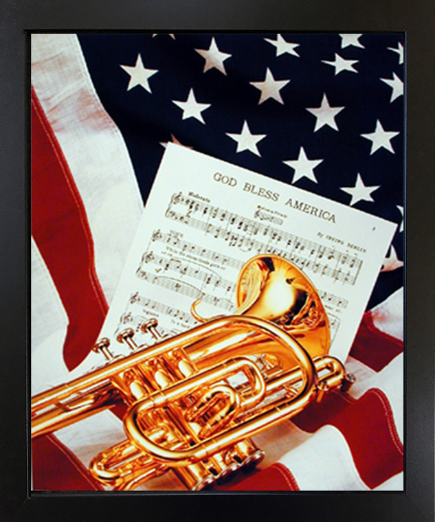 Impact Posters Gallery American Trumpet Instrument & Music Sheet Lying on American Flag Patriotic Black Framed Wall Decoration PictureArt Print (18x22)