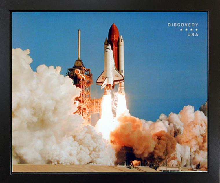NASA Space Shuttle Blasting Off Black Framed Wall Decor Picture Art Print (18x22)