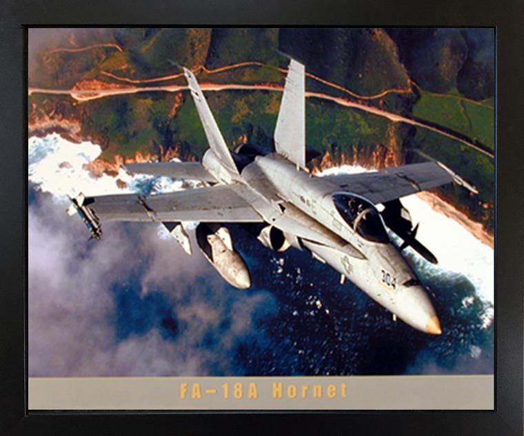 Wall Decor FA-18A Hornet Jet Military Aviation Aircraft Black Framed Picture Art Print (18x22)